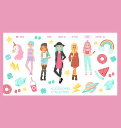 Teenager fashion store website design vector