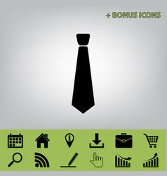 tie sign black icon at gray vector image