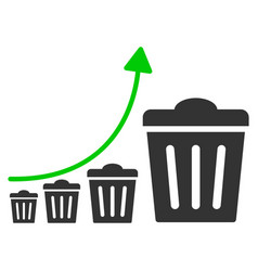 Trash growing trend flat icon vector