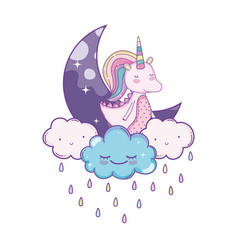 Unicorn on clouds cute cartoons vector