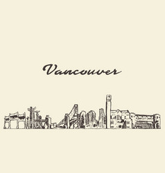 vancouver skyline canada city drawn sketch vector image