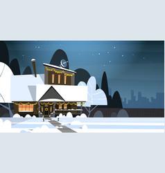 Village winter landscape house building with snow vector