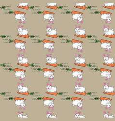 white easter bunny rabbit and carrot seamless vector image