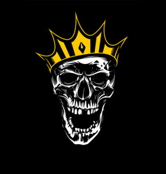 white skull in gold crown on black background vector image