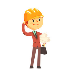 architect builder in hard hat holding paper rolls vector image vector image