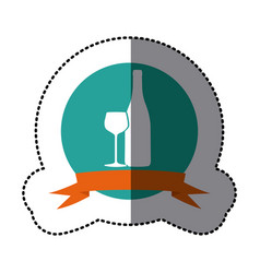 emblem wine bottle with glass icon vector image