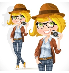 Hipster girl with a camera vector image vector image
