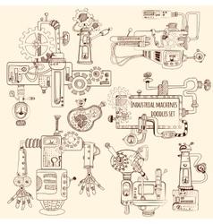 Industrial machines doodles set vector