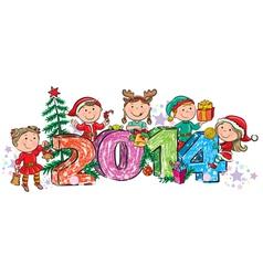 New Years children 2014 vector image