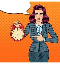 Pop Art Business Woman Holding Alarm Clock vector image vector image