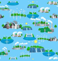 seamless pattern renewable ecology energy green vector image
