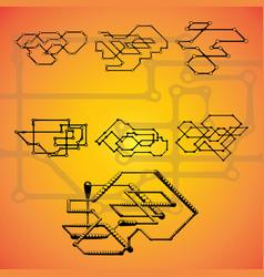 set of seven mechanical schemes vector image
