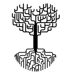 abstract heart tree silhouette vector image vector image