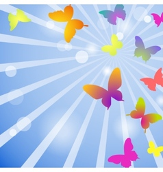 butterflies on a blue sky background vector image vector image