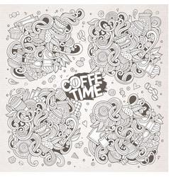 doodle cartoon set of tea and coffe designs vector image
