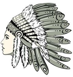 Girl in indian headdress vector image vector image