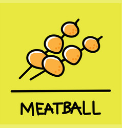 meatball hand-drawn style vector image vector image