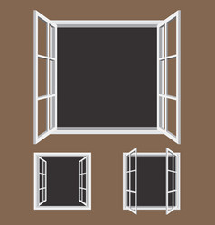 open window frame icons vector image