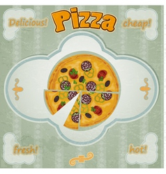 Vintage card with a picture of pizza vector image vector image