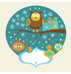 Cute owl on the branch vector image vector image