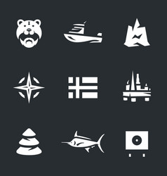 set of norway icons vector image vector image