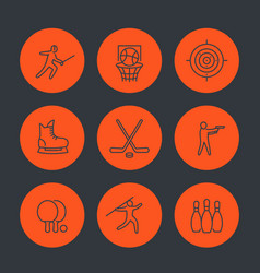 sports games team sport line icons set vector image vector image