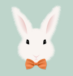white rabbit with bow tie vector image vector image