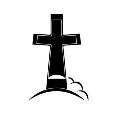 black grave icon - funeral or grave memoria vector image vector image