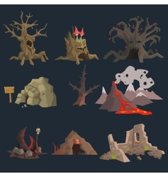 Swamp Tree and Cave Game Set vector image vector image