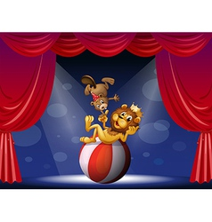 A lion and a beaver performing at the stage vector image