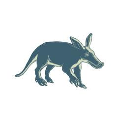 Aardvark scratchboard style vector