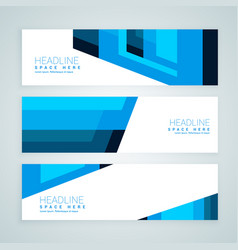abstract blue geometrical banners vector image
