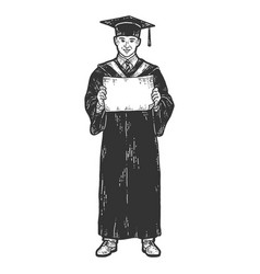 Academic dress graduate with a diploma sketch vector