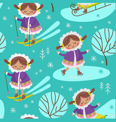 alaska girl flat design seamless pattern vector image