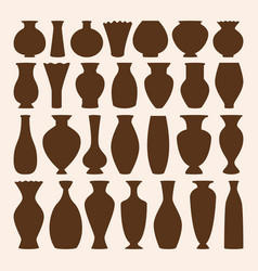 ancient bowls icons collection vase vector image