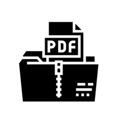 Archiving pdf file glyph icon vector