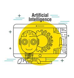 artificial intelligence computer robot gear vector image