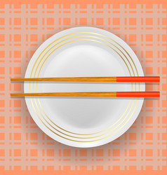 Asian traditional wood chopsticks and plate vector