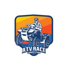 Atv racing sport logo design vector