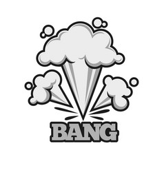 Bang effect with clouds of dust monochrome vector