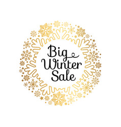 big winter sale inscription gold ornamental frame vector image