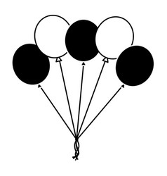 black and white balloons decoration ornament party vector image