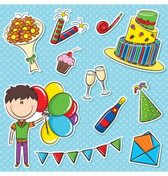 Boy with color balloons and birhday elements vector