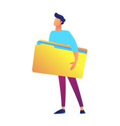 businessman holding big opened document folder vector image