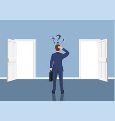 Businessman standing in front open doors vector