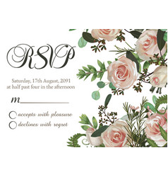 card floral design with green watercolor vector image