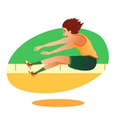 Cartoon athletics long jumper sportsman character vector