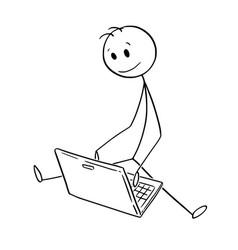 cartoon of man or businessman sitting on ground vector image