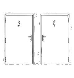 Cartoon of public toilet or restroom door with vector