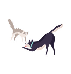 Cartoon scared cat and excited dog fighting vector